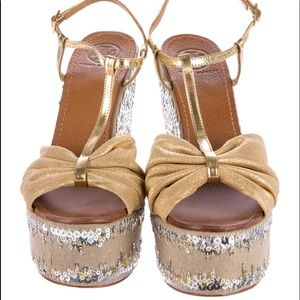 Tory Burch Sandals Knot accent at tops Sequins.